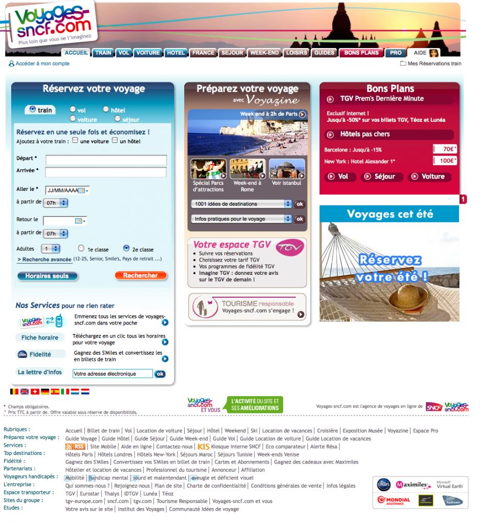 image de la homepage du site voyage sncf
