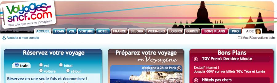 Capture d'écran Homepage site SNCF - 2009