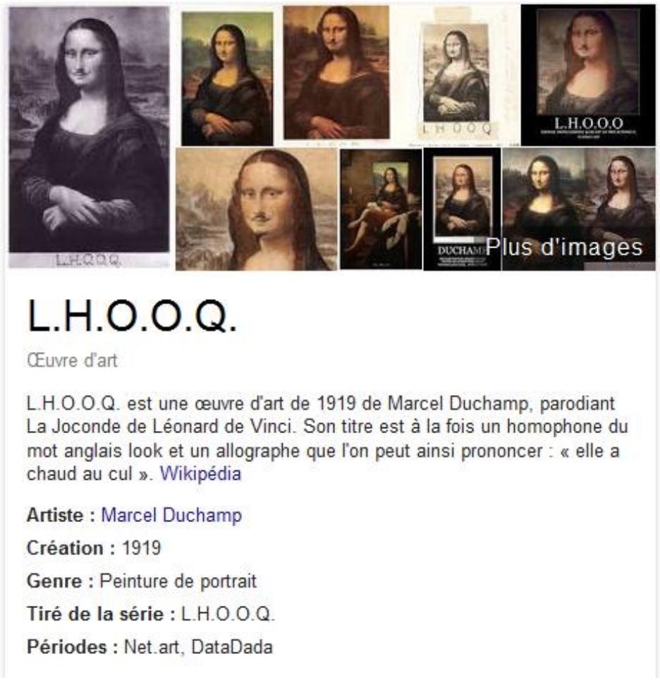Google H.O.O.Q, capture d'écran Google
