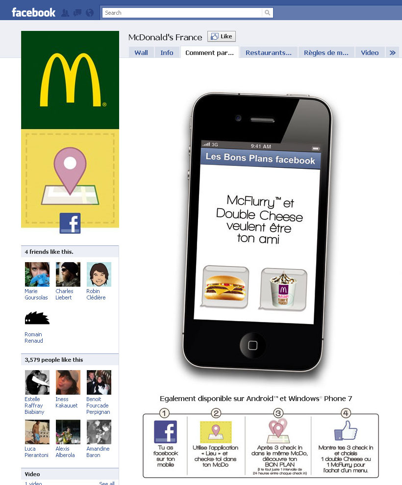 McDonalds - Jeu Facebook de géolocalisation avec l'application Places